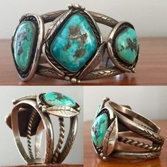 Fred Harvey Era Navajo Cuff Bracelet... 1950's... Sterling silver and Kingman Turquoise... 74 grams of vintage delight!