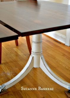 Table refinished in Annie Sloan Old White and General Finishes Java Gel Stain