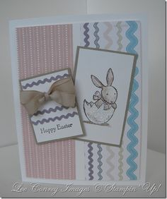 http://stampingleeyours.blogspot.com/2012/01/stamping-411-sketch-240.html      he Crumb Cake Mat is cut to 1 3/4 x 2 7/8 and the image piece (white) is cut to 1 5/8 x 2 3/4. I stamped the bunny image in Basic Brown and colored with Watercolor Pencils and Blender Pens. I wanted this to be very soft….kind of like Beatriz Potter.  the sentiment piece is cut to 1 5/8 x 2 1/8 and the image piece is 1 1/2 x 2. I stamped the Happy Easter from Teeny Tiny Mess