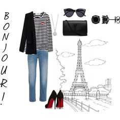 Bonjour Paris by moakarlsvard on Polyvore featuring Comme des Garçons, Acne Studios, Christian Louboutin, Yves Saint Laurent and Le Specs