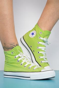 ff05899273f3 Vintage 90s Lime Green Converse Hi-Tops Chuck Taylor All Star Canvas Grunge  Retro Preppy Festival Label Size Womens UK 4 US 6 EU 36.5