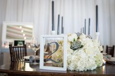 Emily Clack Photography, Bright Occasions Wedding Planning and Event Design, Modern Rustic Chic Wedding Inspiration, White, Gray, Green Wedding Inspiration, #FarmTable #GrayCandles, #Succulents, #Calligraphy