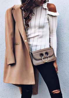 #fall #style  Camel Coat // Striped White Top // Destroyed Jeans