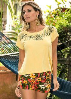 Blusa Viscose com Strass Amarelo Miss Masy - BGO Company