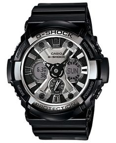 G-Shock Watch, Men's Analog-Digital Black Resin Strap 53mm GA200BW-1A - G-Shock - Jewelry & Watches - Macy's