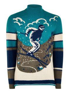 Mens Blue Christmas 'Skiing' Roll Neck Jumper Norwegian Christmas, Blue Christmas, Discount Gift Cards, Roll Neck Jumpers, Christmas Jumpers, Christmas Fashion, Christmas Knitting, Knits, Skiing