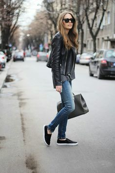 distressed jeans, leather jacket, slip-on shoes