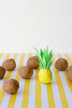 bunt gartenideen Sommerparty ananas Deko tischdeko nüsse
