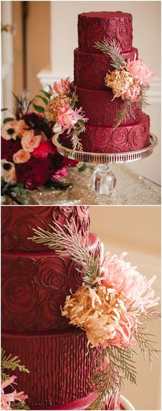Red wedding cake, light pink and pastel peach florals, silver cake stand, dramatic marsala colored cake, textured frosting // Casey Hendrickson Photography