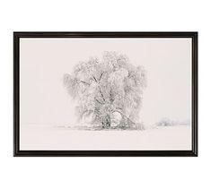 "Winter Tree by Jennifer Meyers, 28 x 42"", Ridged Distressed, Black, No Mat"