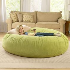 Giant Bean Bag Chair Lounger at BrookstoneBuy Now! Make that bean bag a dog bed for dog children! Giant Bean Bag Chair, Giant Bean Bags, Puff Gigante, Huge Bean Bag, Love Sack Bean Bag, Bean Bag Bed, Diy Bean Bag, Bean Bag Lounger, Futons