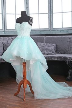 Ice blue organza lace applique high low long prom dresses, evening dresses