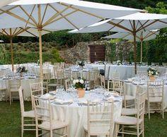 Unique Outdoor Wedding Ideas [Slideshow] white umbrellas maybe at cocktail area