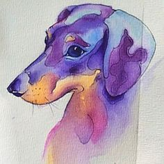Dachshund – Friendly and Curious Dachshund Tattoo, Arte Dachshund, Dachshund Love, Dachshund Drawing, Watercolor Animals, Watercolor Paintings, Watercolour, Watercolor Tattoo, Weenie Dogs