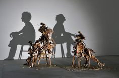 Amazing art installation using junk to produce human shadows. 'Wild Mood Swings' by Tim Noble and Sue Webster, Nihilistic Optimistic Exhibition, Blain Southern Gallery, London. Human Shadow, Shadow Art, Shadow Play, Shadow Images, Art Images, Bing Images, Human Sculpture, Art Sculptures, Modern Sculpture