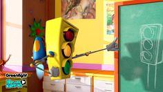 Los semaforos, señales de trafico. Imagenes seguridad vial infantil, educacion vial niños. Serie dibujos GreenLight
