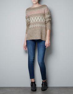 JACQUARD PATTERN SWEATER - Knitwear - Woman - ZARA United States