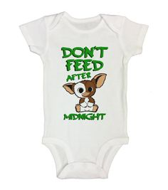"Cute Baby Onesie "" Don't Feed After Midnight "" - Kids Movie Collection - Funny Animal Shirts - Bodysuit - Newborn - Toddler Option - 306"