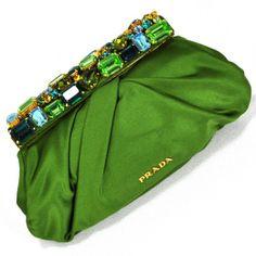 Prada Jeweled Satin Clutch Bag