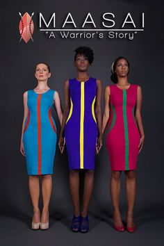 Beautiful dress by 54 Kingdoms inspired by Maasai shields African Inspired Fashion, African Print Fashion, Africa Fashion, Fashion Prints, Fashion Design, Men's Fashion, African Print Dresses, African Fashion Dresses, African Dress