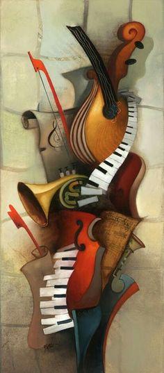 Abstract music art by Emanuel Mattini artwork Emanuel Mattini, 1966 Art And Illustration, Musik Illustration, Arte Jazz, Jazz Art, Music Painting, Music Artwork, Music And Art, Musik Wallpaper, Music Images