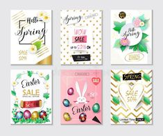 Sale banners, flyers, coupons, gift card, price tag, concept design set. Spring Holiday sales posters with green foliage, Easter rabbit, easter eggs, floral decoration, abstract, retro style. Hello Spring greeting card vector template. 2018 new collection.