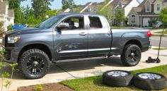 Black XD Monster Wheels and Toyo Open Country MT Tires on a 2007 Toyota Tundra 2011 Toyota Tundra, Toyota Tundra Lifted, Toyota Tundra Crewmax, 2007 Tundra, Custom Tundra, Toyota Tundra Accessories, Tundra Truck, Toyota Trucks, Cool Trucks