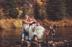 Trash the Dress - Fall Wedding in Vail. I love that they incorporated the dog :)
