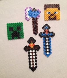 Minecraft craft - IKEA iron beads. Hacked from Pinterest and had to improvise colours due to the assorted selection!