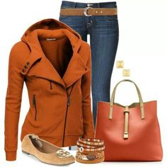 I like the jacket and the rust color. Not a fan of those particular jeans as it will make my hips look 100ft wide but the color would be cute