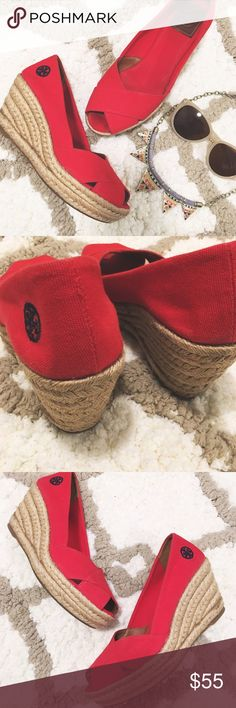 "❤️Toru Burch Red Wedges❤️ Cute red canvas wedges! Love the pop of color!😍😍😍Made in Spain Criss cross open toe Platform height 1.25"" Heel height 3"" Happy Poshing💁🏾  📫 Same/Next Day Shipping 🏡 Odor Free 🐩 Pet Free 🚫 PayPal/Trade Tory Burch Shoes Wedges"