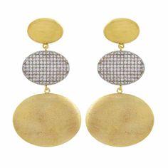 6efd938aa8 Brinco Narcizza Semijoias Triplo Oval Ouro Liso E Escovado Com Zircônia  Cristal Ouro