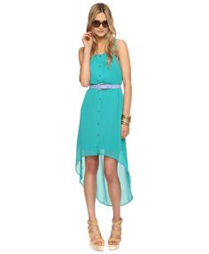 tuqouoise high low dresses | Buttoned High-Low Dress in Turquoise on Wanelo