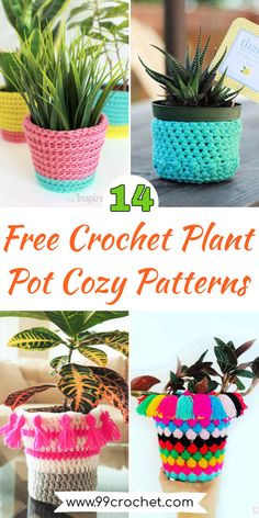Just reproduce these 14 Free Crochet Plant Pot Cozy Patterns that will make the perfect slipcovers for your plant, flower, and herb pots. These plant pot cozy patterns Crochet Towel, Crochet Cozy, Quick Crochet, Crochet Dishcloths, Crochet Shawl, Crochet Crafts, Single Crochet, Free Crochet, Crochet Projects