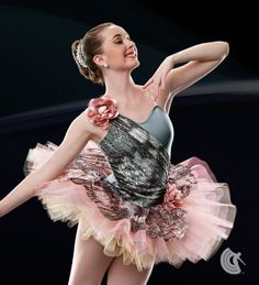 Curtain Call Costumes® - Autumn Leaves Nylon/spandex leotard with foil dot tye dye lace bodice and shoulder treatment. Attached six row graduated tulle and net tutu with tulle panty ruffles and foil dot tye dye lace top skirt. INCLUDES: flower headdress (shown on shoulder).  https://curtaincallcostumes.com/products/product-page-t.php?prodid=7459