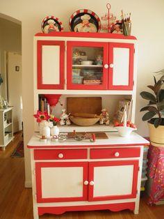 Red & White Hoosier Cabinet