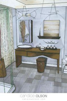 Renderings with Markers • Interior Renderings • Interior Drawings • Manual Rendering for Interiors • #candiceolson #candiceolsondesign Candice Olson, Interior Rendering, Creative Design, Markers, Manual, Bathrooms, Interiors, Drawings, House