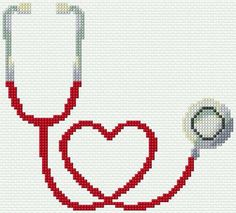 Punto De Cruz Embroidery Kit 2934 - Free cross-stitch design 'Stethoscope', 84 x 76 stitches 8 colors Learn Embroidery, Cross Stitch Embroidery, Embroidery Patterns, Hand Embroidery, Cross Stitch Boards, Cross Stitch Heart, Cross Stitch Family, Cross Stitch Designs, Cross Stitch Patterns