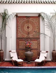 Antique Moroccan Door for the pool house.{Riad Les Yeux Bleus in #Marrakech}