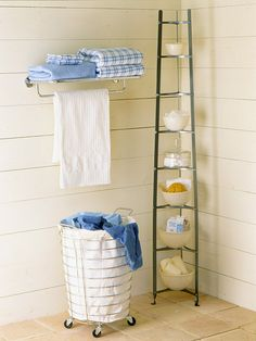 In a tight bathroom, maximize storage space by putting a flower pot rack in one corner to hold small items.