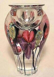 David Lotton Art Glass Floral Vase