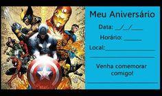Lindo Convite de Festa Infantil Com Tema de Os Vingadores Batman Arkham Knight, Hulk, Party Themes, Spiderman, Avengers, Mickey Mouse, Crafts For Kids, Invitations, Marvel