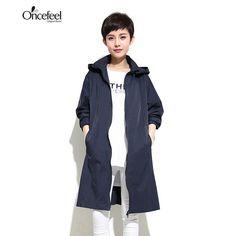 2017 lapel collar long cocoon casual winter jacket lady minimalist loose zipper coat hooded feminine women's windbreaker