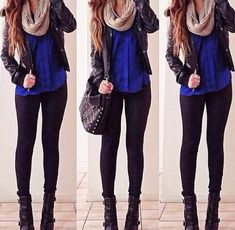 Dark blue and scarf outfit