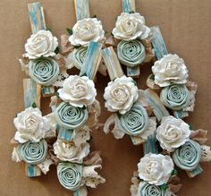 French Shabby Chic Cottage decorative clothespins teal aqua decorated clothes pegs set of 6 pins with handmade flowers paper flower Diy Arts And Crafts, Diy Craft Projects, Paper Crafts, Diy Crafts, Decorated Clothes Pins, Clothespin Art, Clothes Pegs, Shabby Chic Cottage, Handmade Flowers