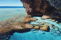 Born in Auckland in Mark Cross began making art during his mid teens. Dolphin Drawing, Cave Pool, Seascape Art, Rock Pools, Mark Cross, Contemporary Landscape, Color Of Life, Landscape Paintings, Landscapes