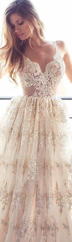 Lurelly Wedding Dress Spaghetti strap lace appliqué wedding dress, v-neck…