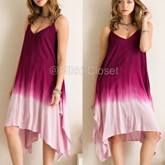 """Ombré tie dye color flowy dress sexy boho S,M or L New with tags.  Blue or berry available in small,medium or large. woven, v-neckline, adjustable straps ✏️The back is a tie up style and you can adjust and tie it how you want it. Ombre tie dye dip style. Flare Boho summer sun dress, very flattering. shark bite hem. hi lo, high low hem. Material is not sheer or see through ✏️Dress is lined with stretchy fabric. fabric is 100%Rayon. Armpit to armpit=(L) is 23"""" Length(high to low point(L) is…"""