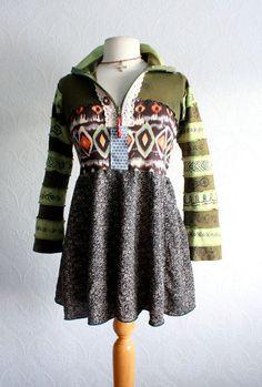 Bohemian Hoodie Olive Green Southwestern by BrokenGhostClothing