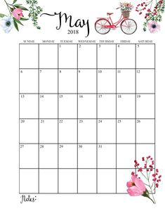 2018 Printable Monthly May Calendar